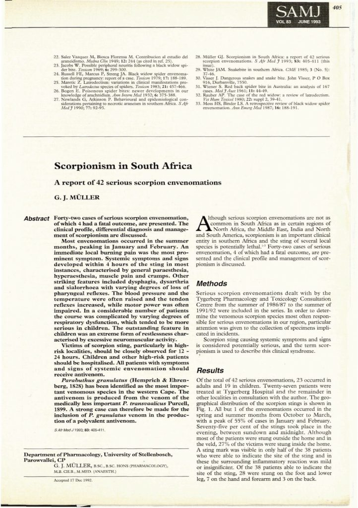 Scorpionism in South Africa - a report of 42 serious cases of envenomations